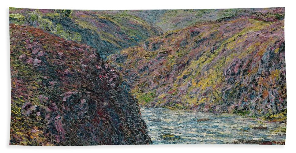 Sea Beach Towel featuring the painting Ravines Of The Creuse At The End Of The Day by Claude Monet