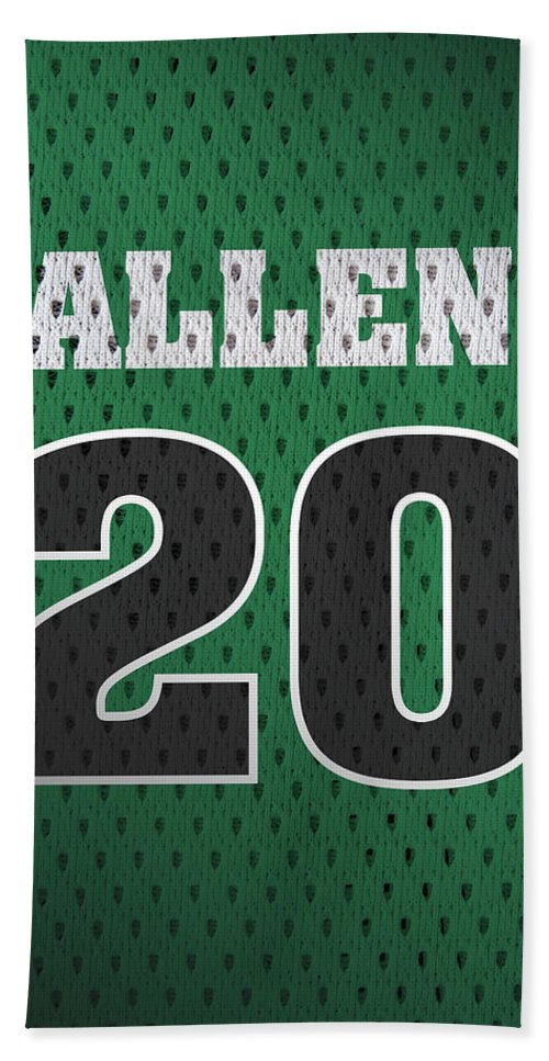 Ray Allen Beach Towel featuring the mixed media Ray Allen Boston Celtics Retro Vintage Jersey Closeup Graphic Design by Design Turnpike