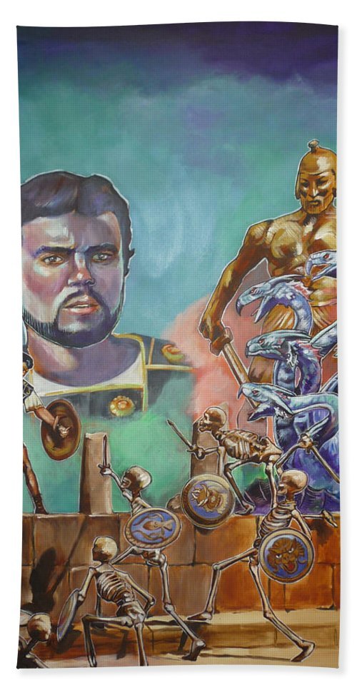 Jason Argonauts Hydra Talos Skeletons Movie Harryhausen Fantasy Sci-fi Beach Sheet featuring the painting Ray Harryhausen Tribute Jason And The Argonauts by Bryan Bustard
