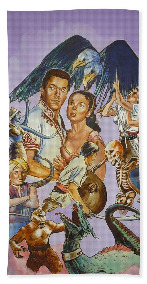 Movie Beach Sheet featuring the painting Ray Harryhausen Tribute Seventh Voyage Of Sinbad by Bryan Bustard