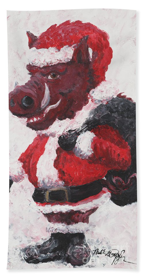 Santa Beach Towel featuring the painting Razorback Santa by Nadine Rippelmeyer