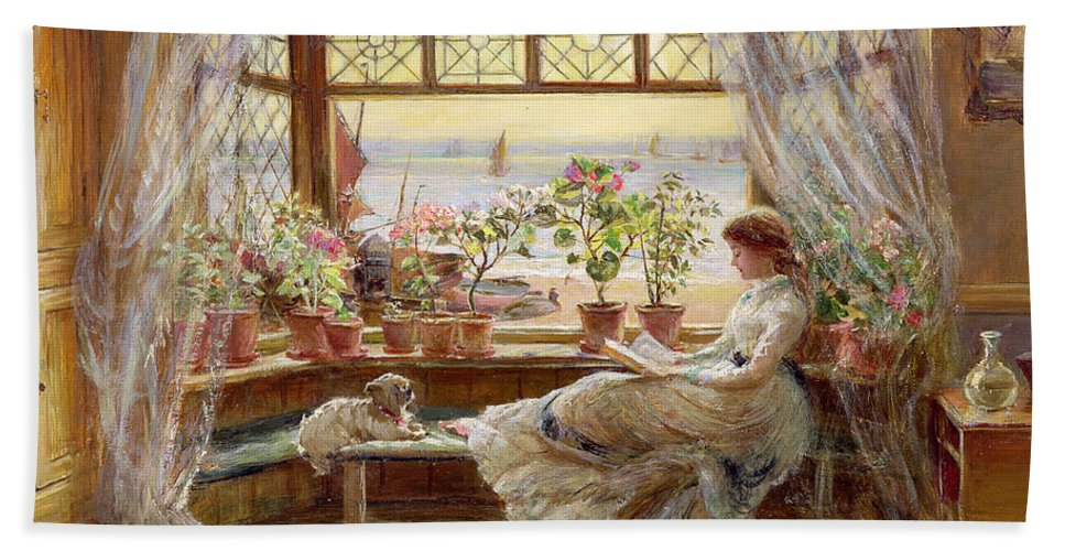 Dog Beach Towel featuring the painting Reading by the Window by Charles James Lewis