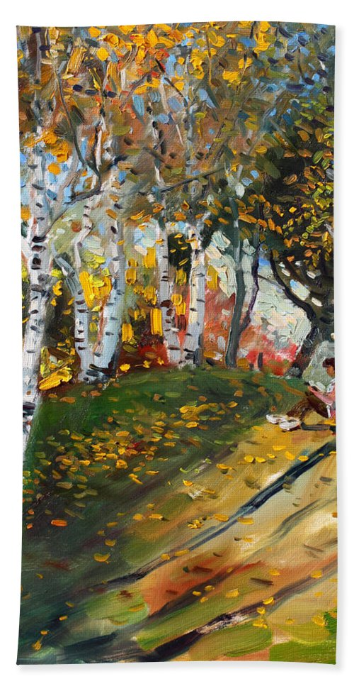 Reading Beach Towel featuring the painting Reading In The Park by Ylli Haruni