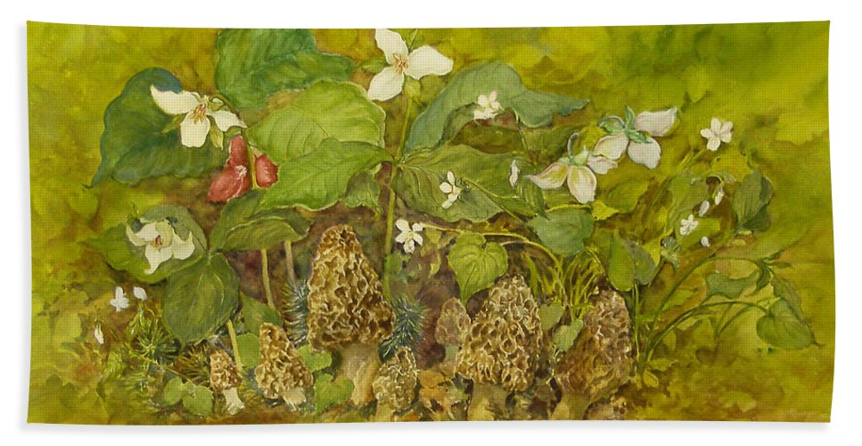 Mushrooms;trillium;spring;violets;woods;woodland;morels;watercolor Painting; Beach Towel featuring the painting Ready For Pickin' by Lois Mountz