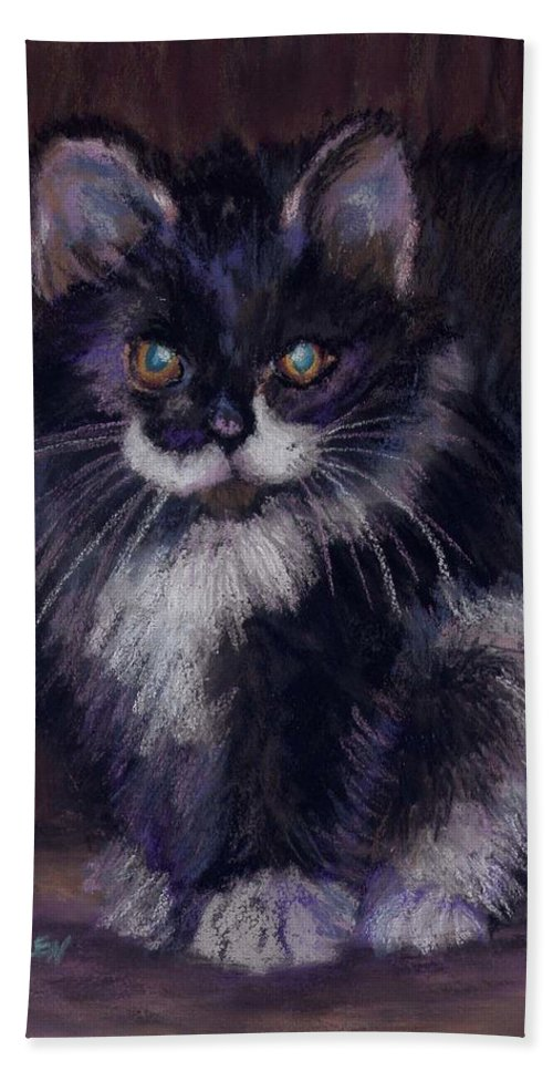 Kitten Beach Towel featuring the painting Ready for Trouble by Sharon E Allen