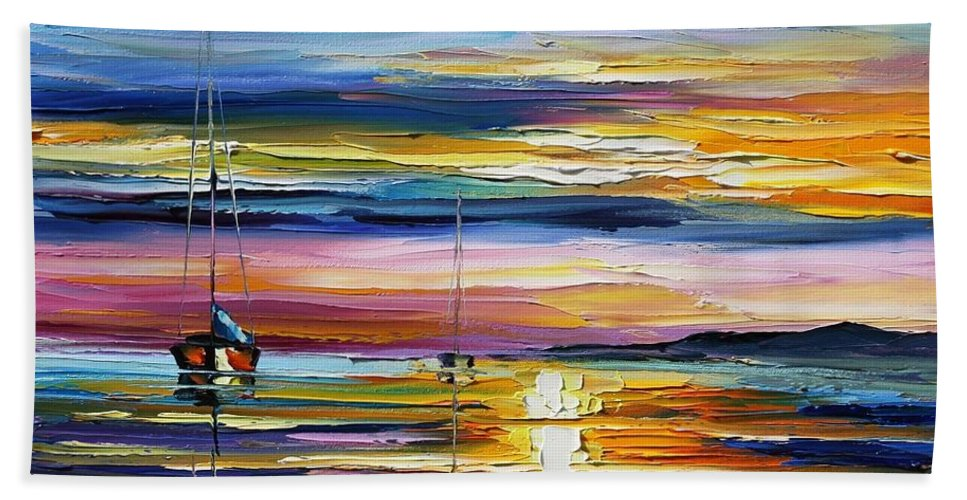 Afremov Beach Towel featuring the painting Real Sunset by Leonid Afremov