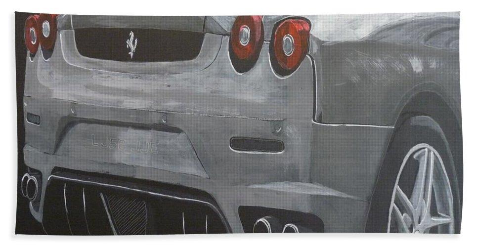 Ferrari Beach Towel featuring the painting Rear Ferrari F430 by Richard Le Page