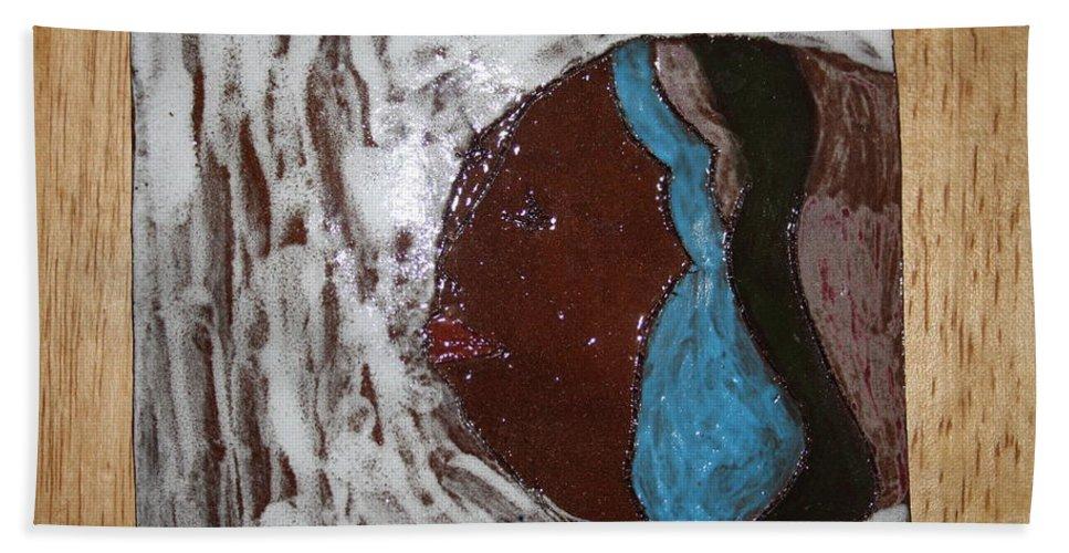 Jesus Beach Towel featuring the ceramic art Rebecca - Tile by Gloria Ssali