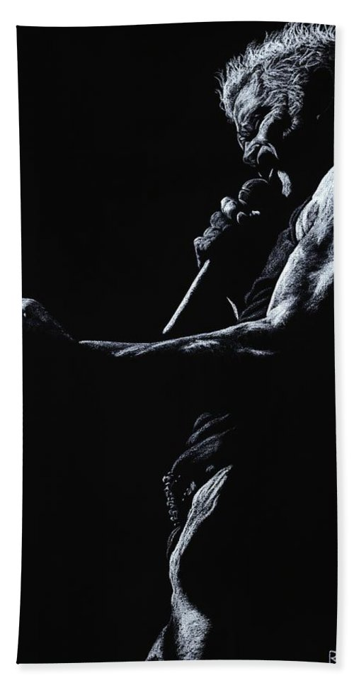 Musician Beach Towel featuring the pastel Rebel Yell 1 by Richard Young