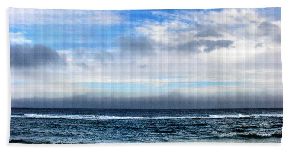 Seascape Beach Sheet featuring the photograph Receding Fog Seascape by Steve Karol