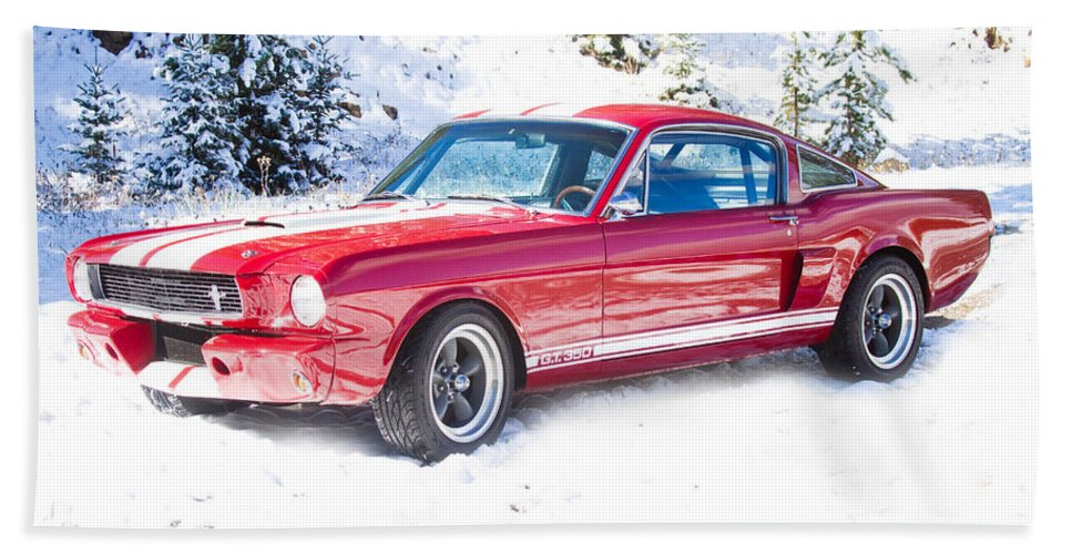 Automobiles Beach Towel featuring the photograph Red 1966 Ford Mustang Shelby by James BO Insogna