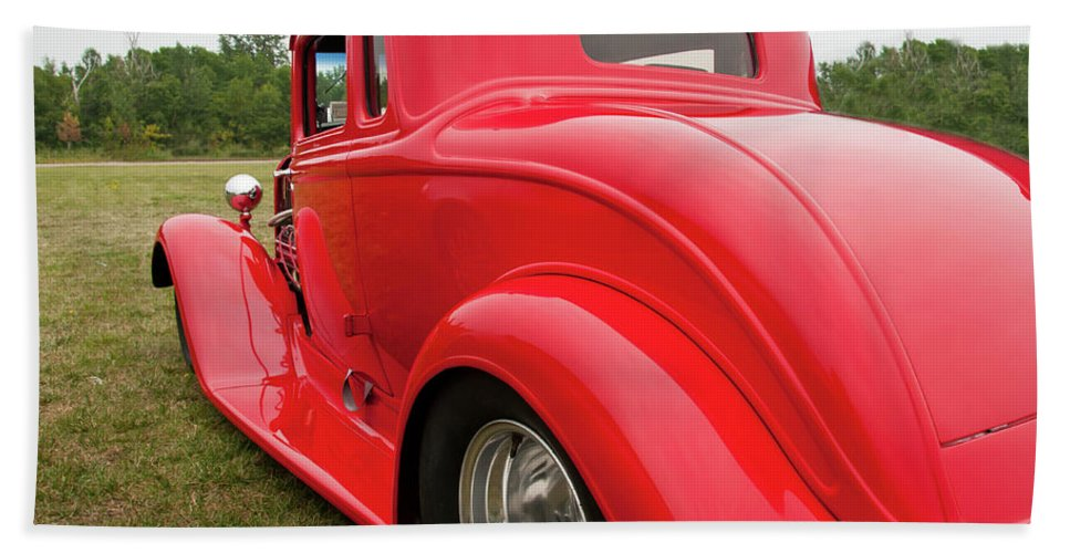 Antique Car Beach Towel featuring the photograph Red 1994 by Guy Whiteley