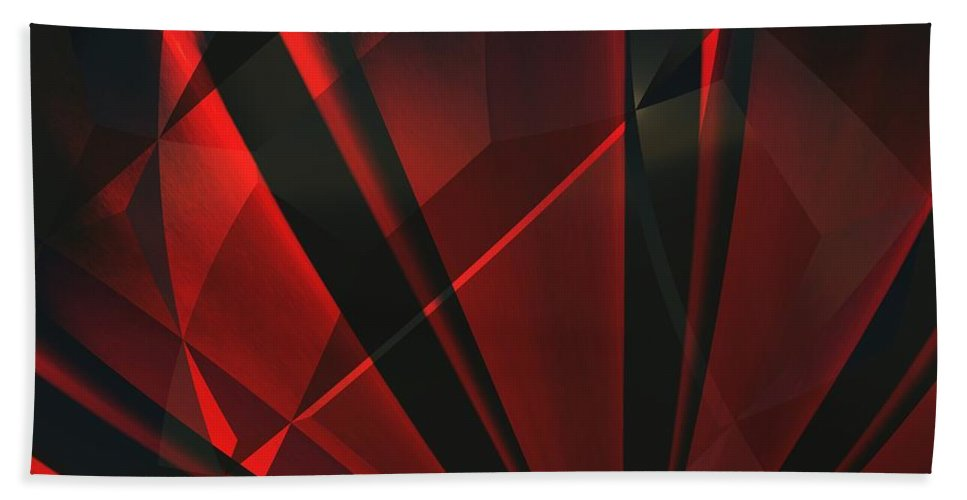 Abstractum Beach Towel featuring the digital art Red Abstractum by Max Steinwald