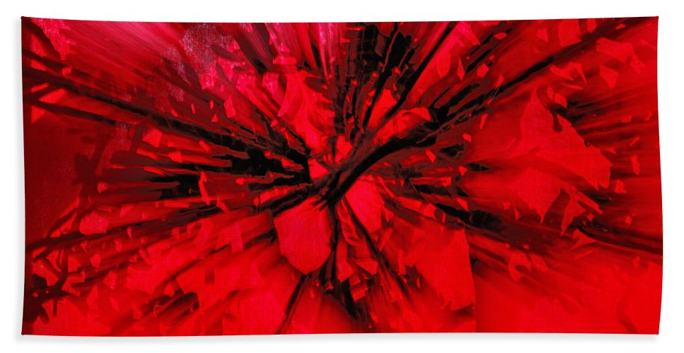 Abstract Beach Towel featuring the photograph Red And Black Explosion by Susan Capuano