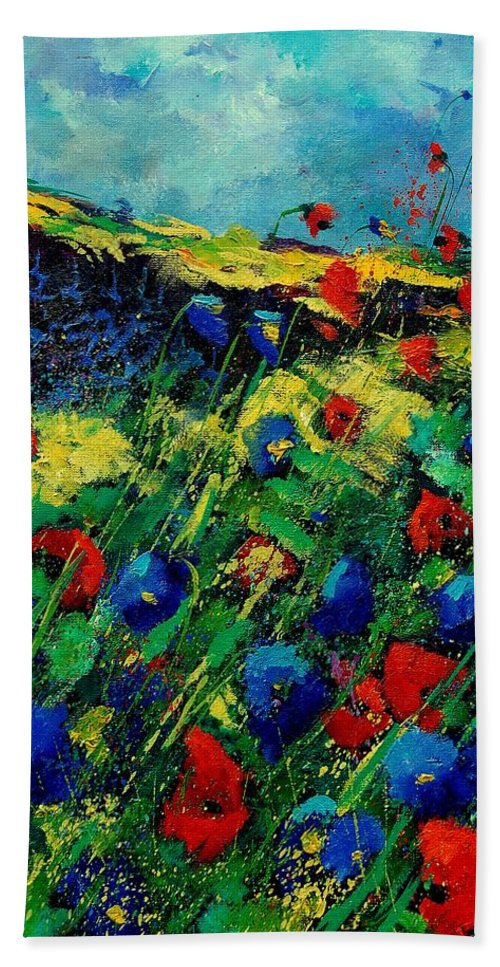 Flowers Beach Towel featuring the painting Red And Blue Poppies 56 by Pol Ledent