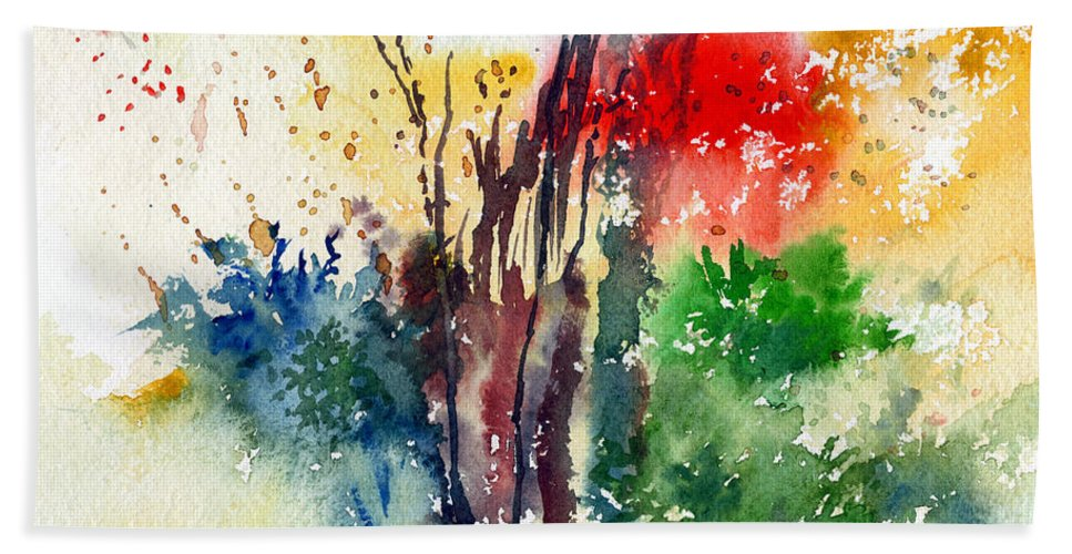 Watercolor Beach Towel featuring the painting Red And Green by Anil Nene