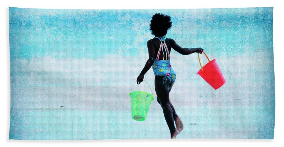 Beach Towel featuring the photograph Red And Green Pails by Guy Crittenden