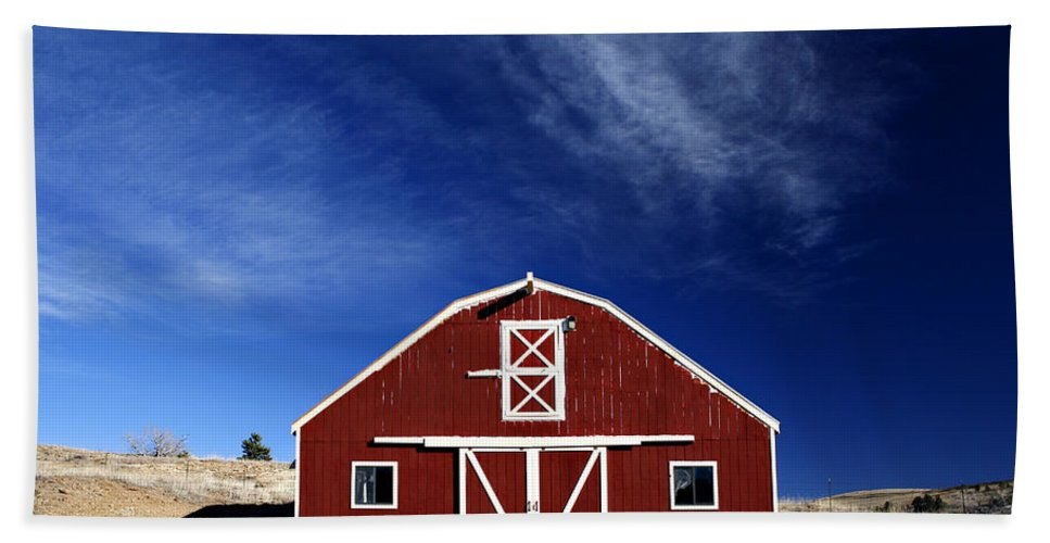 Americana Beach Sheet featuring the photograph Red And White Barn by Marilyn Hunt