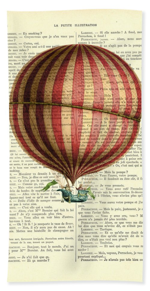 Hot Air Balloon Beach Towel featuring the digital art Red And White Striped Hot Air Balloon Antique Photo by Madame Memento