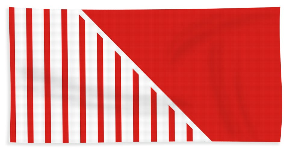 Red Beach Towel featuring the digital art Red and White Triangles by Linda Woods