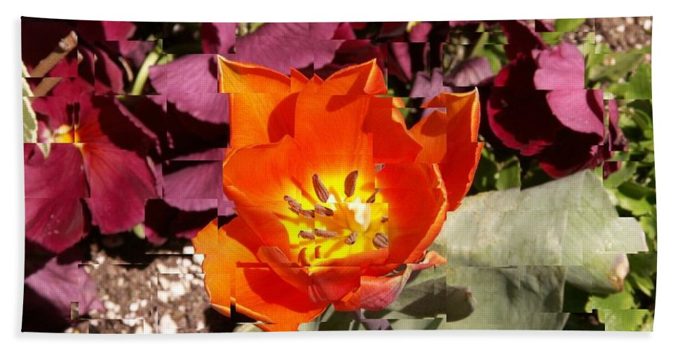 Flower Beach Towel featuring the digital art Red And Yellow Flower by Tim Allen