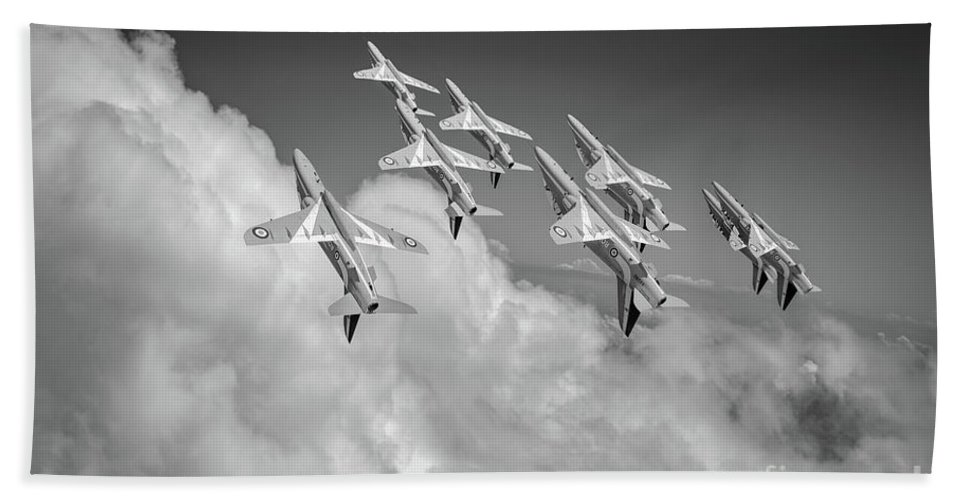 Bae Hawk T1 Beach Towel featuring the photograph Red Arrows Sky High Bw Version by Gary Eason