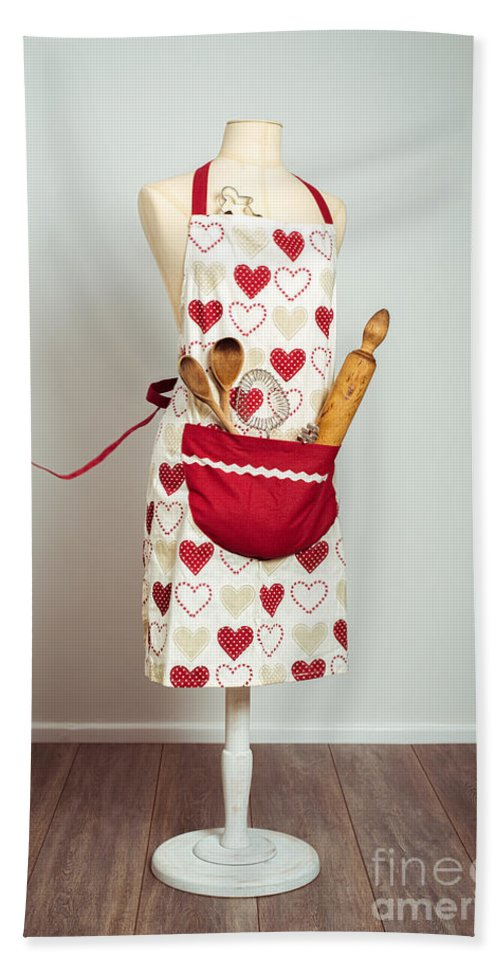 Baking Beach Towel featuring the photograph Red Baking Apron by Amanda Elwell