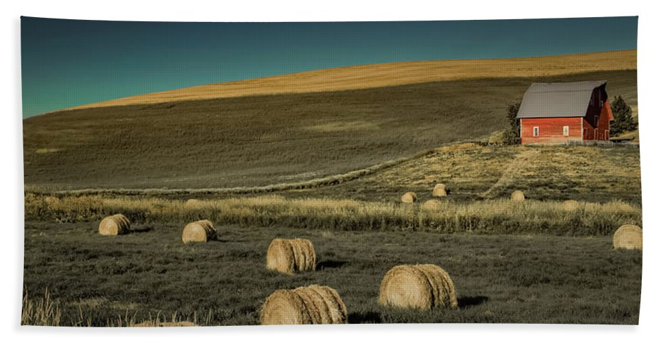 Farm Beach Towel featuring the photograph Red Barn At Haying Time by Don Schwartz