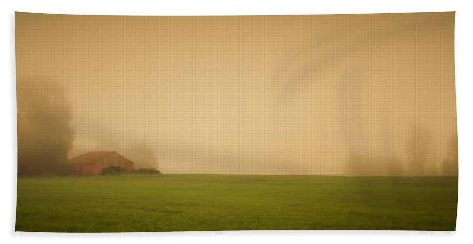 Barn Beach Towel featuring the photograph Red Barn In The Fog by Don Schwartz