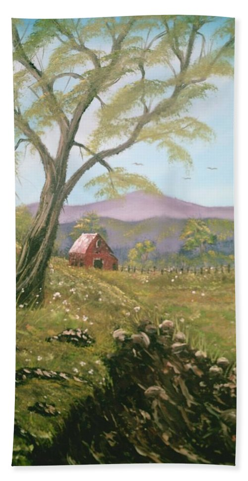 Landscape Beach Towel featuring the painting Red Barn by Jim Saltis