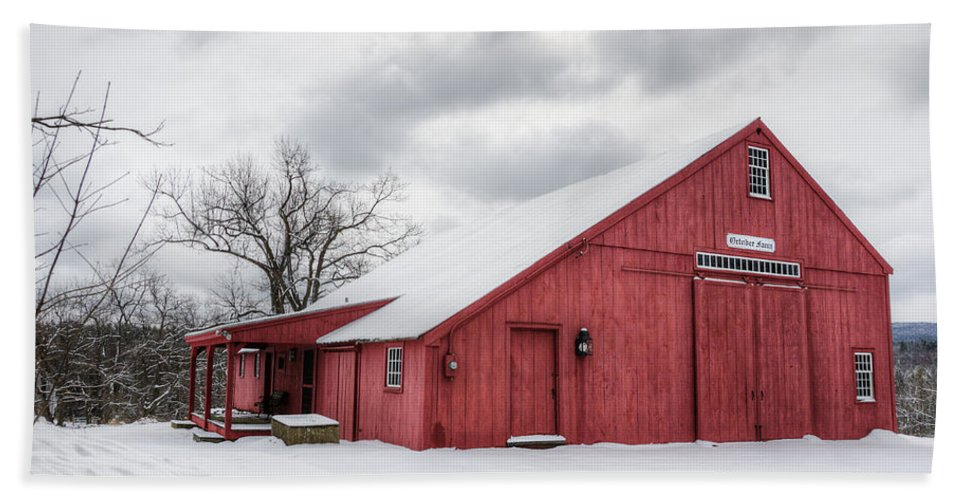 Landscape Beach Towel featuring the photograph Red Barn On Wintry Day by Donna Doherty