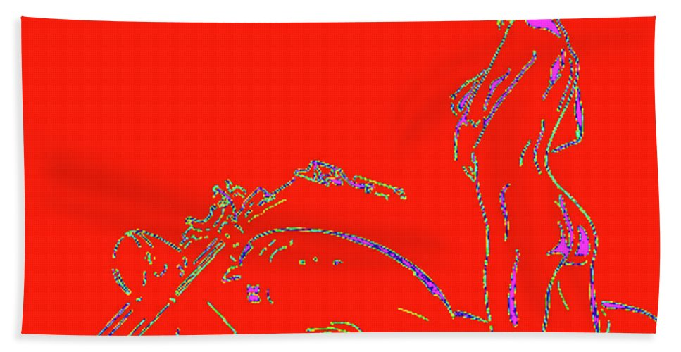 Nude Paintings Beach Towel featuring the digital art Red Biker Biatch Ps by Mayhem Mediums