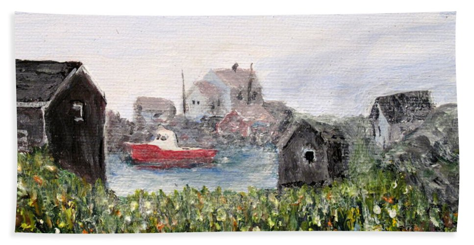 Red Boat Beach Towel featuring the painting Red Boat In Peggys Cove Nova Scotia by Ian MacDonald