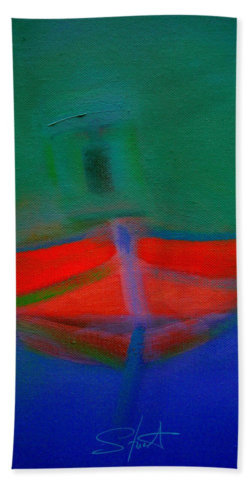 Fishing Boat Beach Towel featuring the painting Red Boat In The Mirror by Charles Stuart