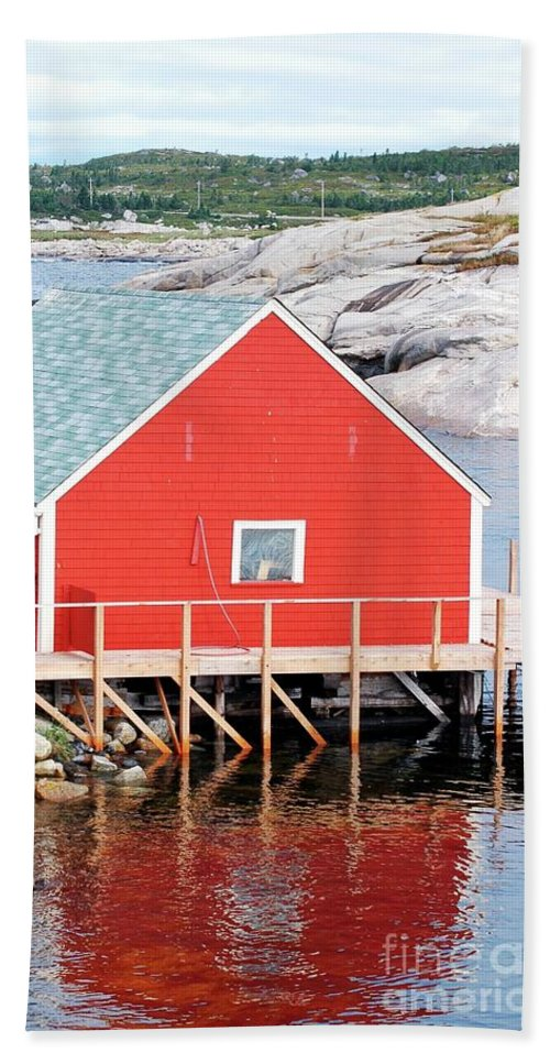 Red Beach Towel featuring the photograph Red Boathouse by Kathleen Struckle