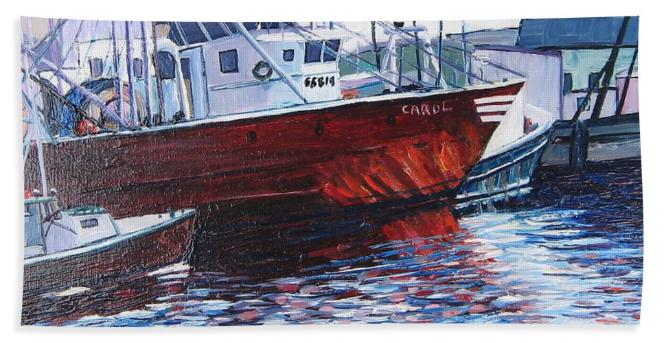 Boats Beach Towel featuring the painting Red Boats by Richard Nowak