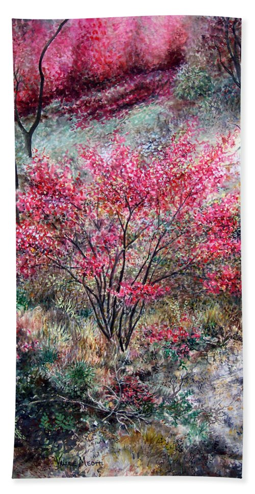 Landscape Beach Towel featuring the painting Red Bush by Valerie Meotti