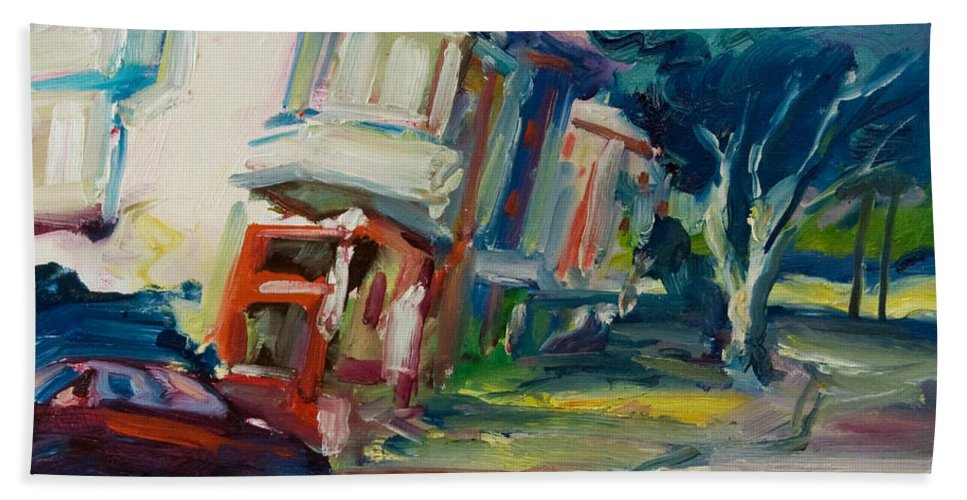 Trees Beach Towel featuring the painting Red Cafe by Rick Nederlof