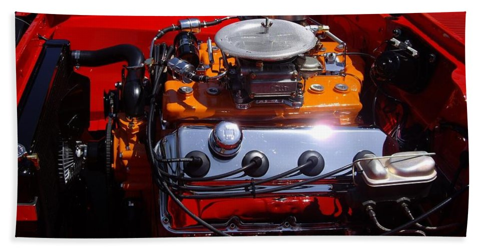 Red Car Engine Beach Towel featuring the photograph Red Car Engine by Mariola Bitner