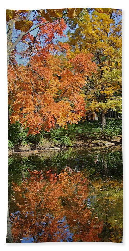 Fall Beach Towel featuring the photograph Red Cedar Banks by Joseph Yarbrough