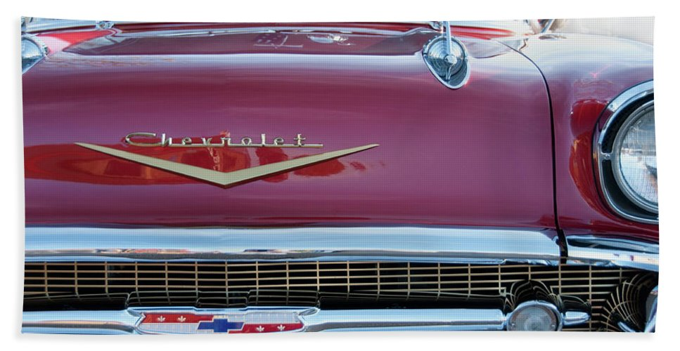 Chevrolet Beach Towel featuring the photograph Red Chevy by David Arment