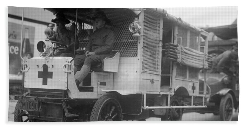 1910s Beach Towel featuring the photograph Red Cross: Ambulance by Granger