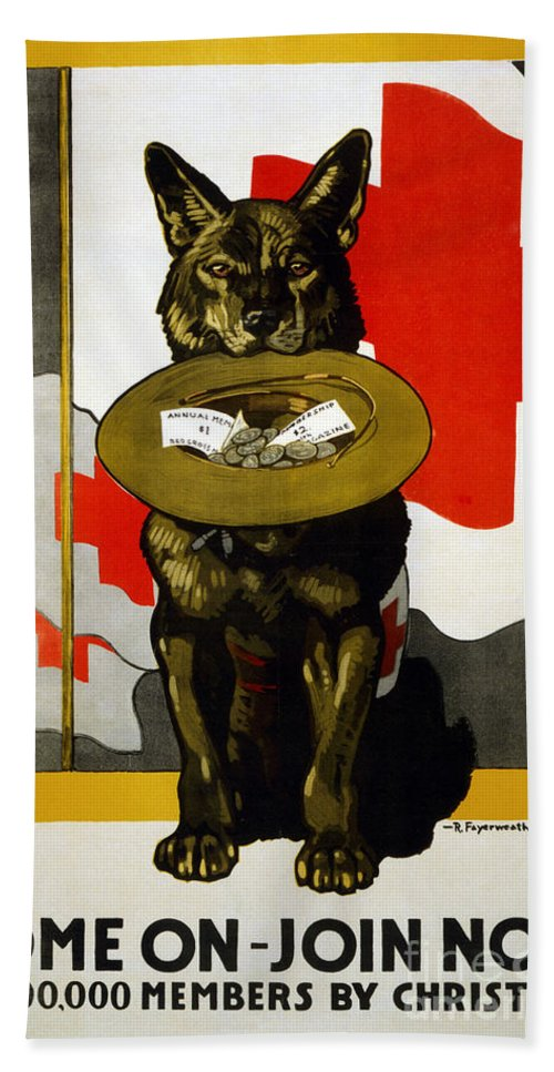 1917 Beach Towel featuring the photograph Red Cross Poster, 1917 by Granger