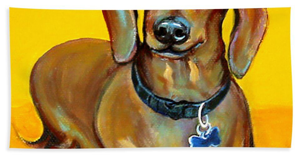 Rebecca Korpita Beach Towel featuring the painting Red Dachshund - Tigger Smiles by Rebecca Korpita