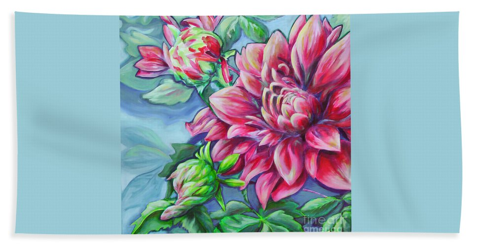 Fine Beach Towel featuring the painting Red Beauty by Snejana Videlova