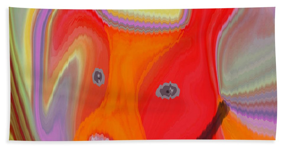 Abstract Beach Towel featuring the digital art Red Dog by Ruth Palmer
