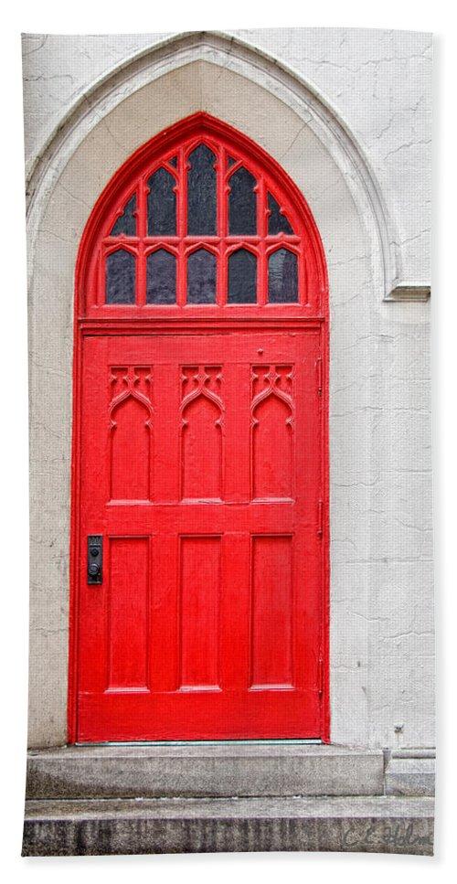 Door Beach Towel featuring the photograph Red Door by Christopher Holmes