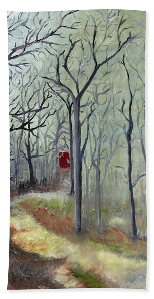 Landscape Beach Towel featuring the painting Red Door by Outside the door By Patt
