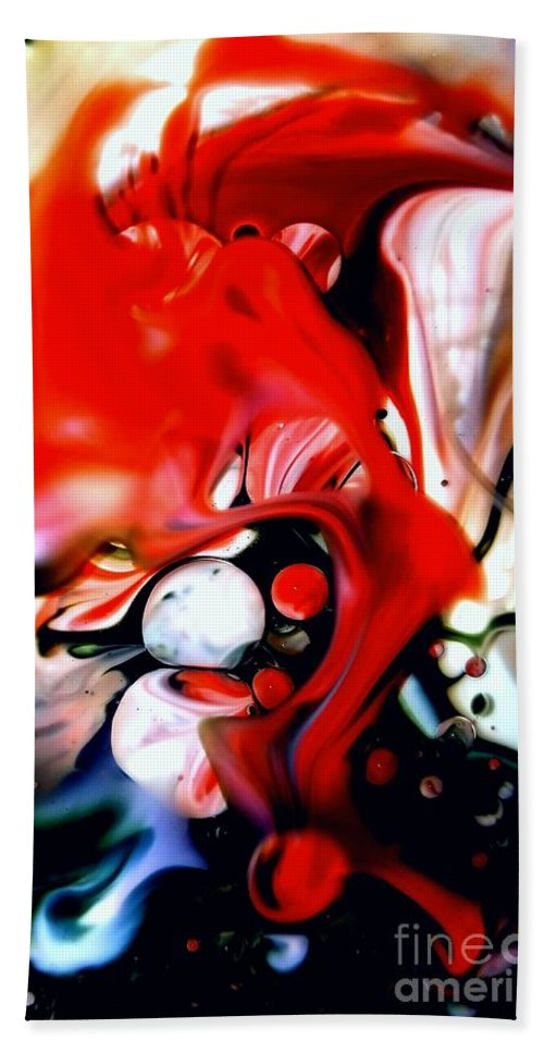 Abstract Beach Towel featuring the mixed media Red Drape by Lisa Roberts