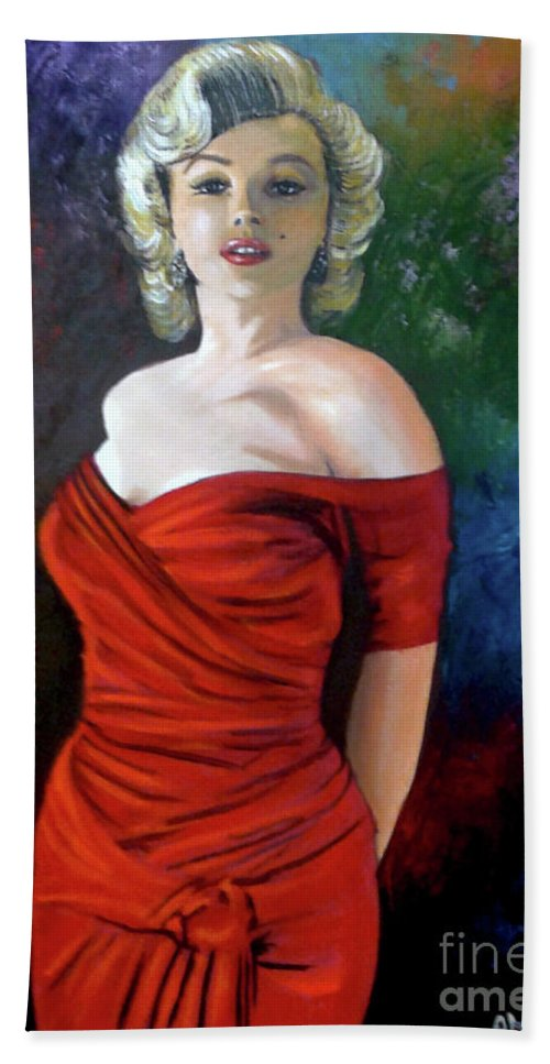 M.monroe Beach Towel featuring the painting Red Dress by Jose Manuel Abraham